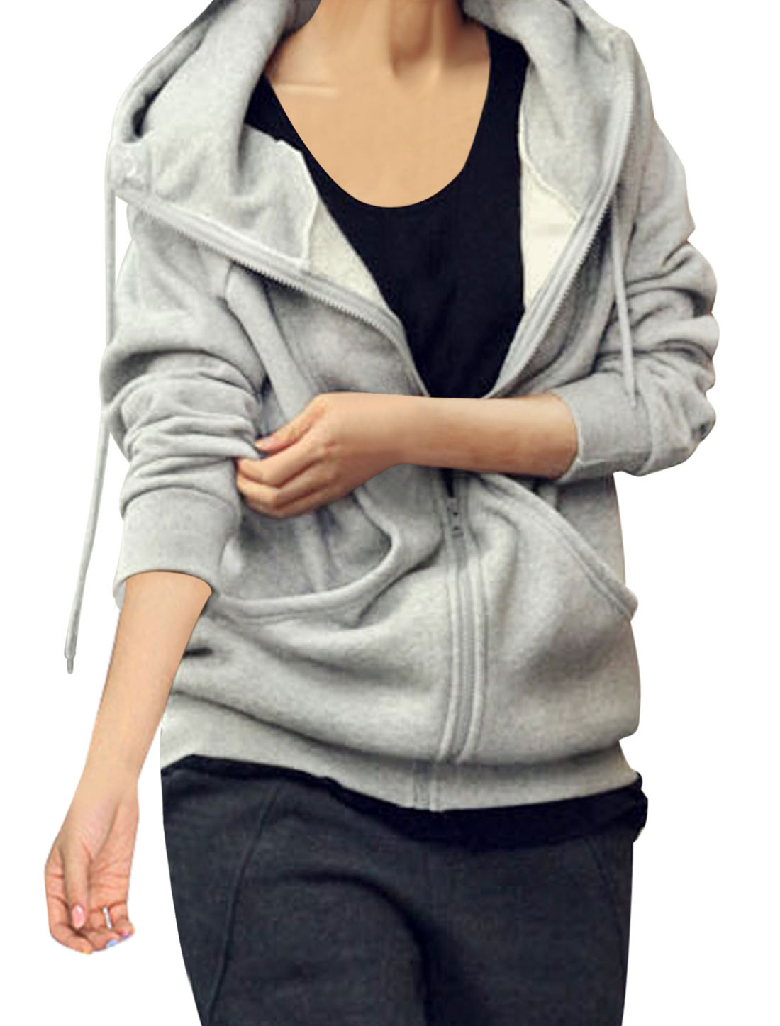 Women Drawstring Hooded Design Zip-Up Closure Hooded Jacket Light Gray S