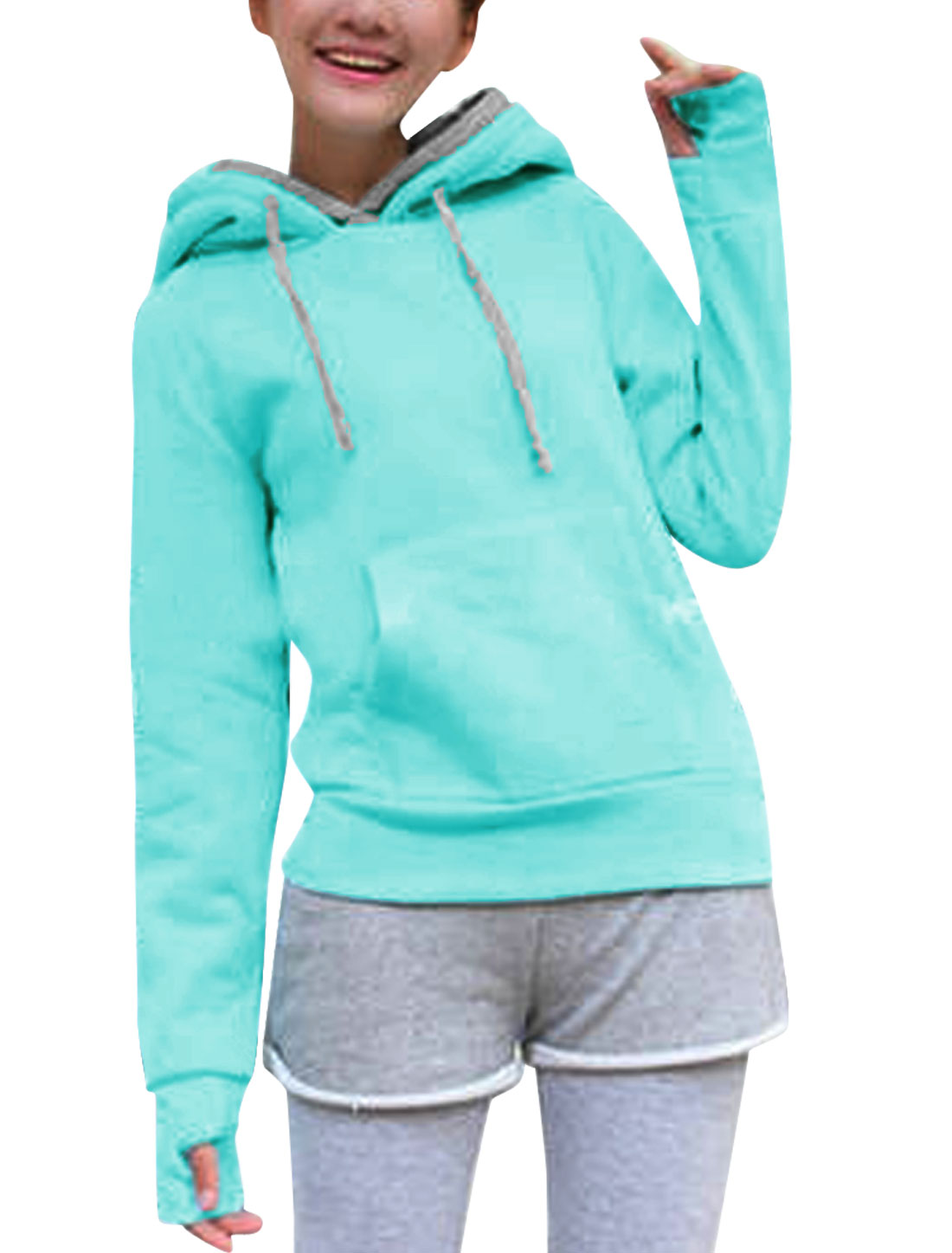Lady Hooded Long Sleeve Kangaroo Pocket Casual Sweatshirt Sky Blue Gray XS