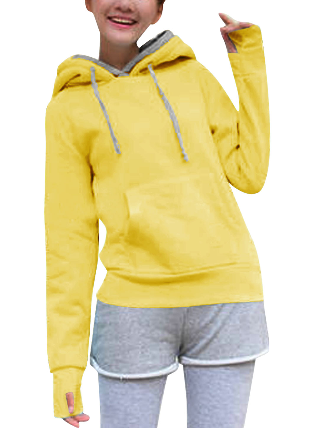 Lady Fake Two Pieces Hooded Kangaroo Pocket Casual Jacket Yellow Gray XS