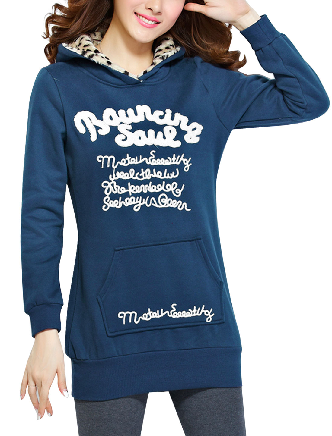 Ladies Navy Blue Long Sleeves Pullover Fleece Lining Casual Hoodie L