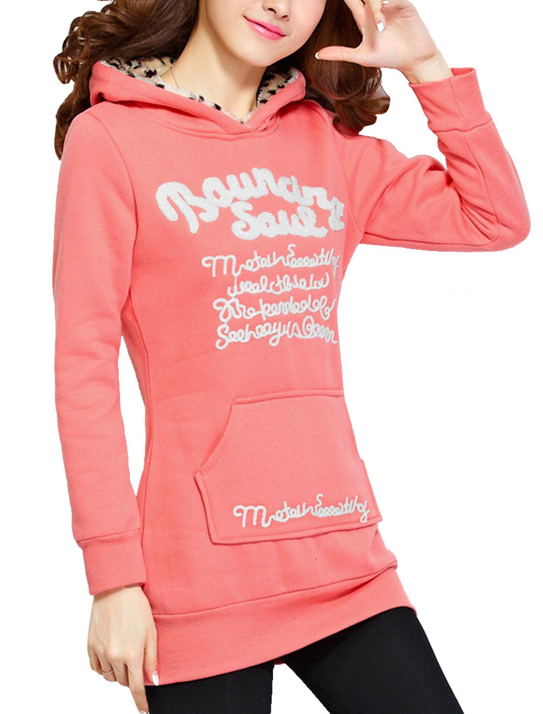 Ladies Pink Long Sleeves Pullover Ribbed Hem Fleece Lining Hoodie L