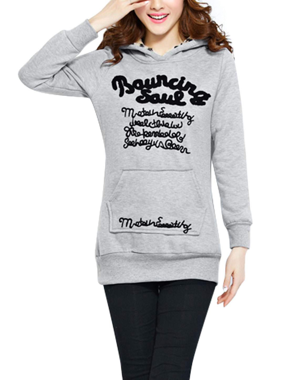 Ladies Light Gray Full Sleeves Pullover Embroidered Letters Detail Hoodie L
