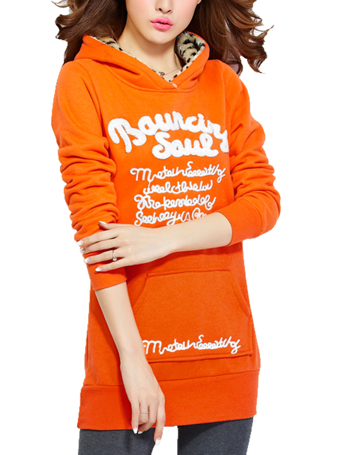Ladies Dark Orange Full Sleeves Pullover Fleece Lining Hoodie L