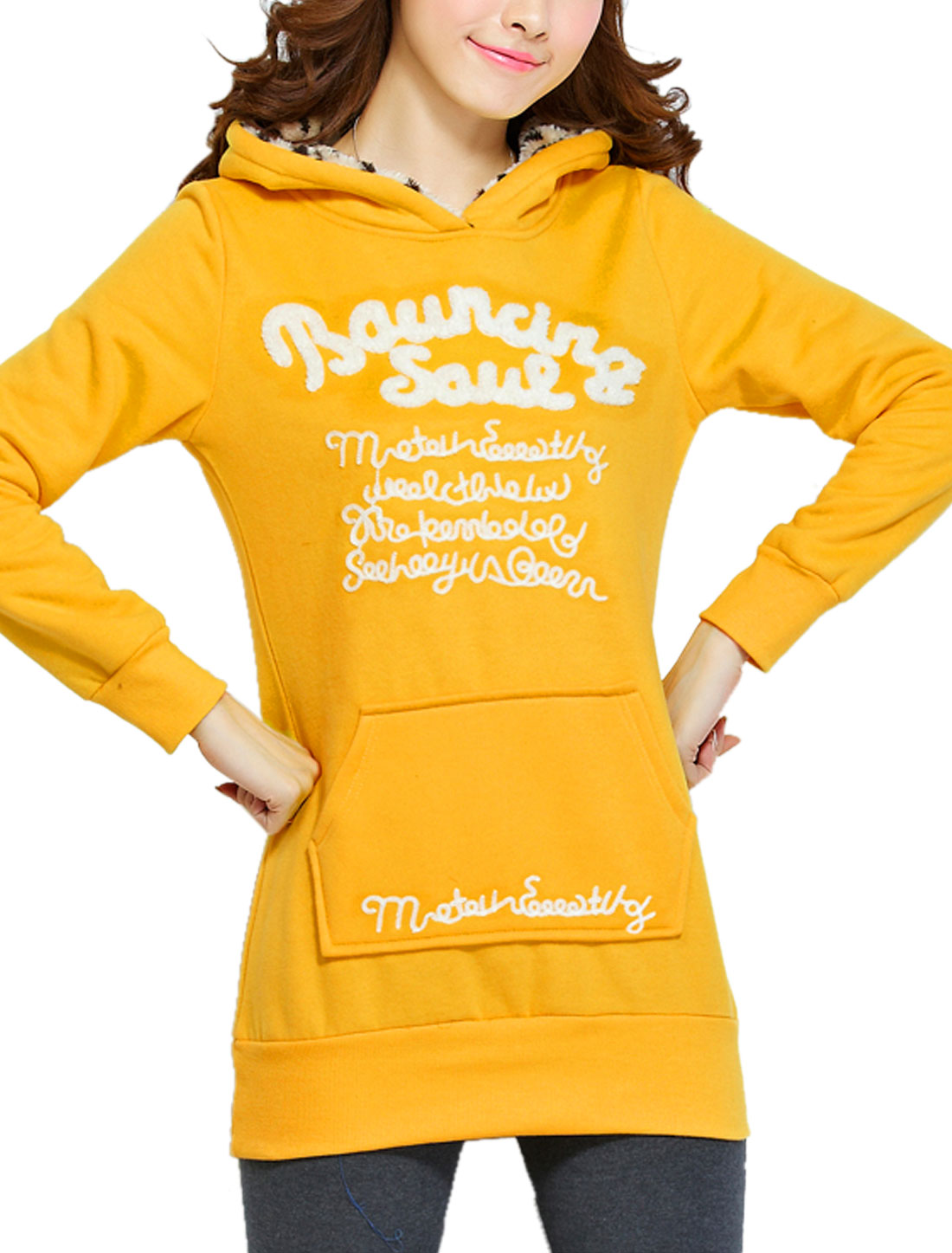 Ladies Yellow Long Sleeves Pullover Kangaroo Pocket Hoodie L