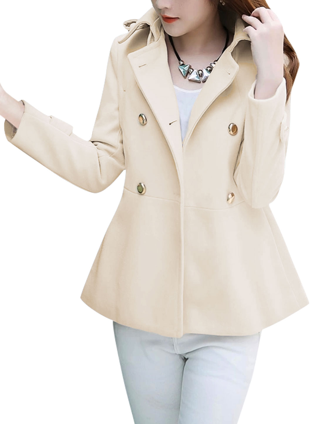 Women Single Breasted Buttons Decor Front Welt Pockets Peacoat Beige L