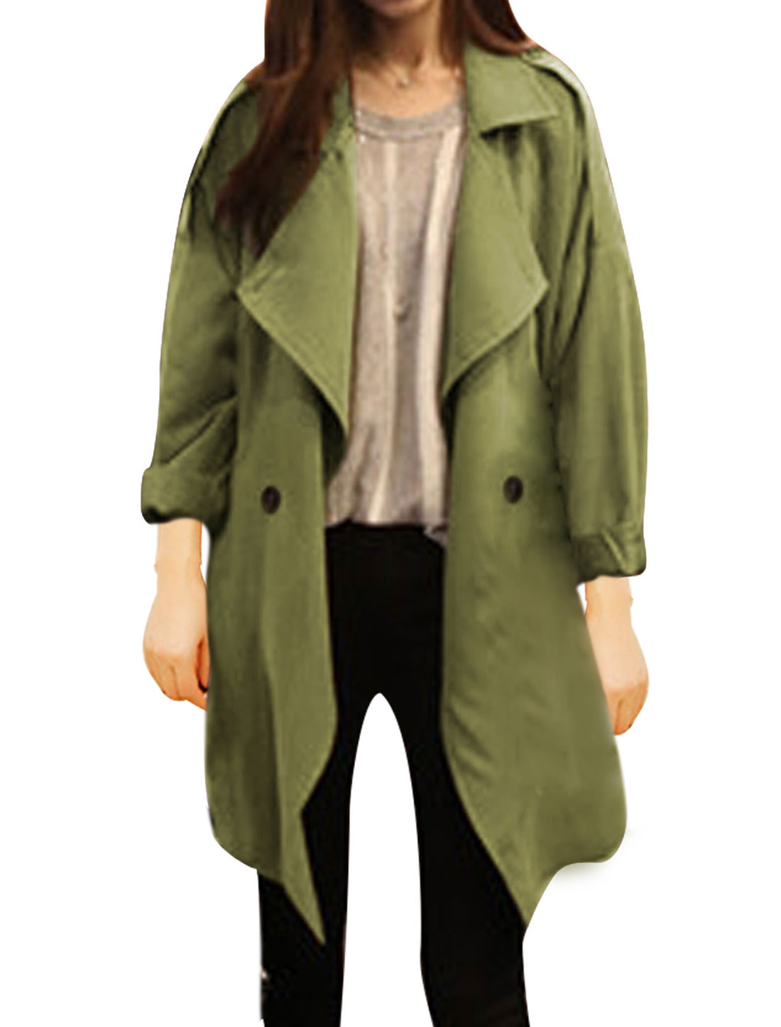 Women Double Breasted Slant Pockets Notched Lapel Trench Coat Army Green M