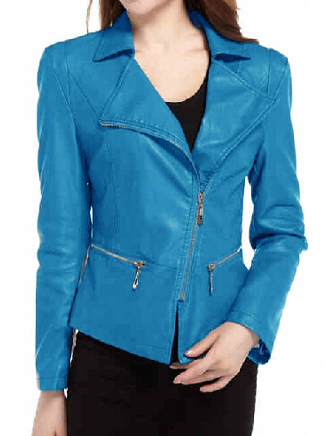 Ladies Turquoise Long Sleeves Turn Down Collar Inclined Zippered Front Jacket L