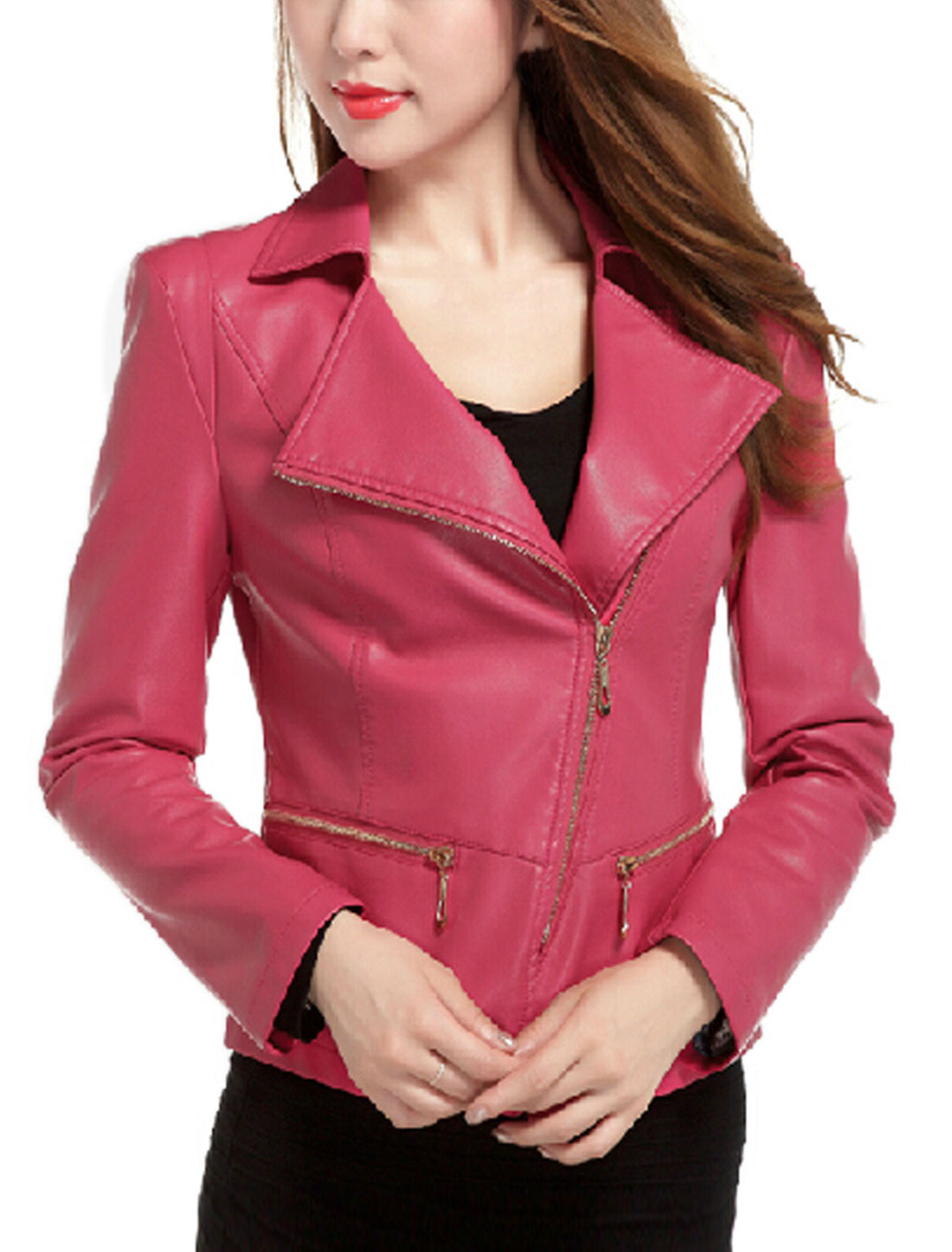 Ladies Fuchsia Turn Down Collar Inclined Zip Closure Padded Shoulder Jacket L