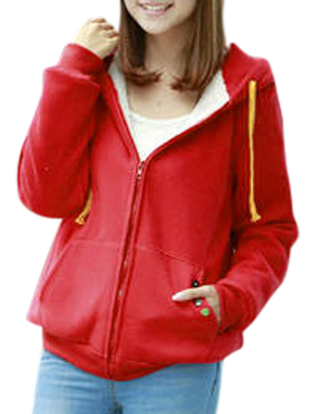0355 Ladies Long Sleeve Button Decor Detail Fashion Design Hooded Jacket Red M
