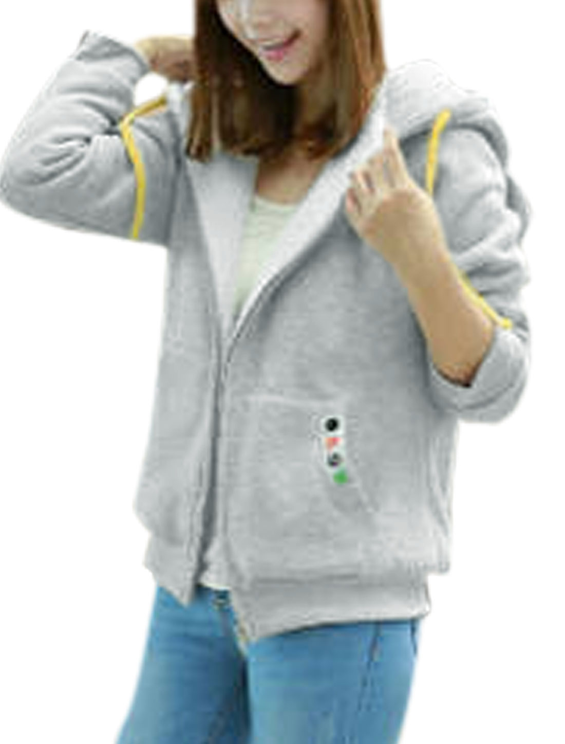 Ladies Long Sleeve Zip Closure Fashion Hooded Jacket Light Gray M