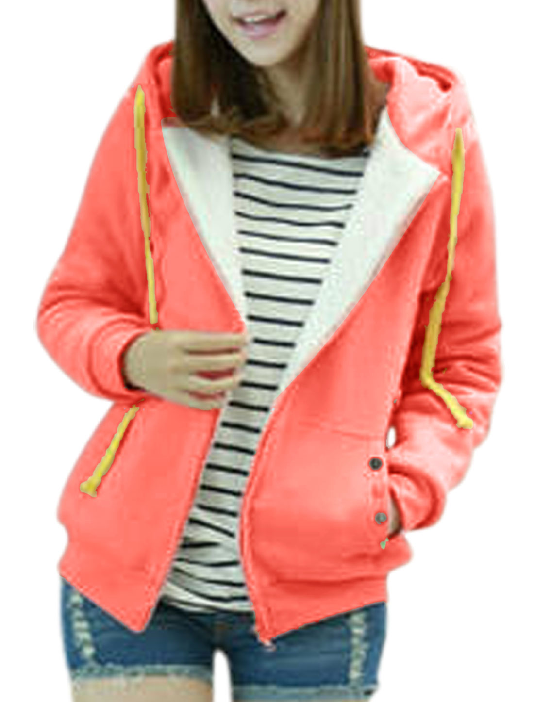 Ladies Fleece Lining Long Sleeve Leisure Hooded Jacket Pale Pink M