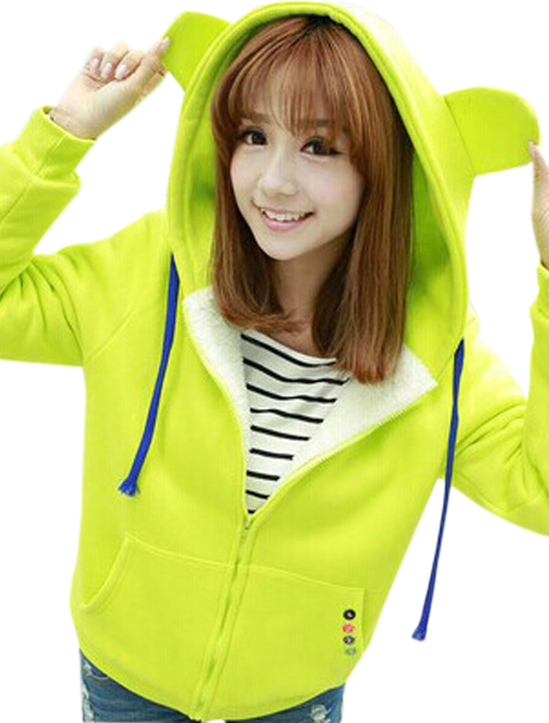 Ladies Zip Closure Button Decor Fashion Hooded Jacket Green Yellow M