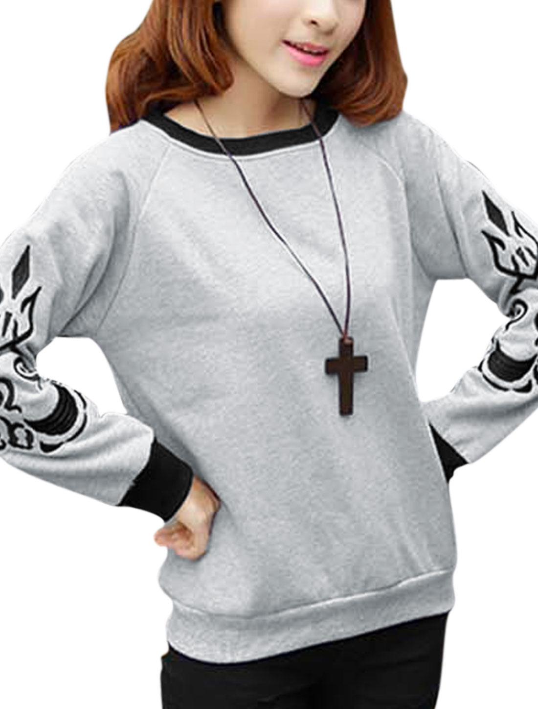 Ladies Crew Neck Casual Sweatshirt Light Gray XS