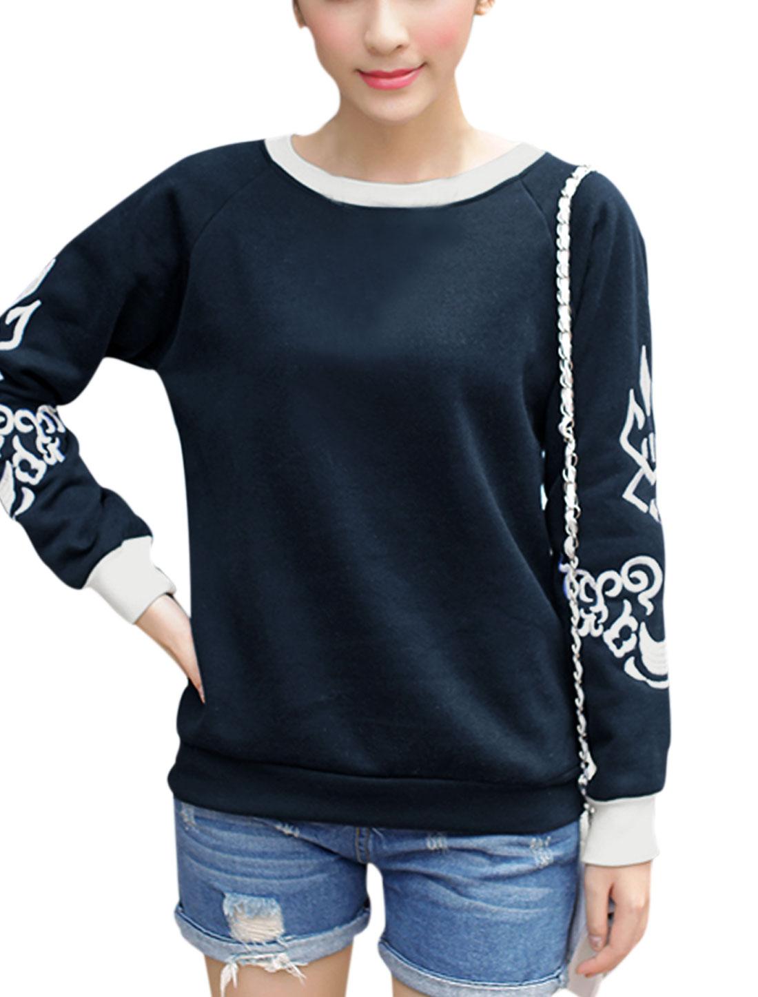 Ladies Crew Neck Pullover Leisure Sweatshirt Navy Blue XS
