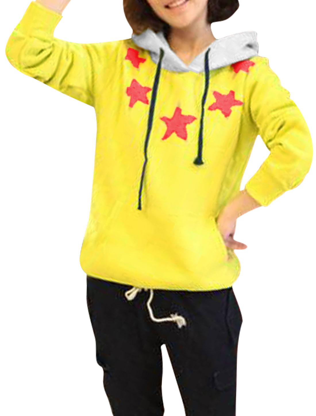 Ladies Yellow Long Sleeves Contrast Color Pullover Loose Casual Hoodie S