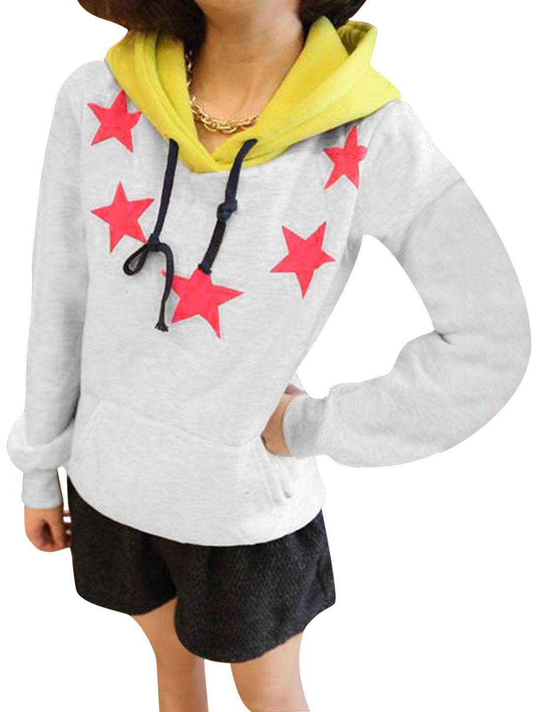 Ladies Light Gray Long Sleeves Color Block Pullover Stars Prints Hoodie XS