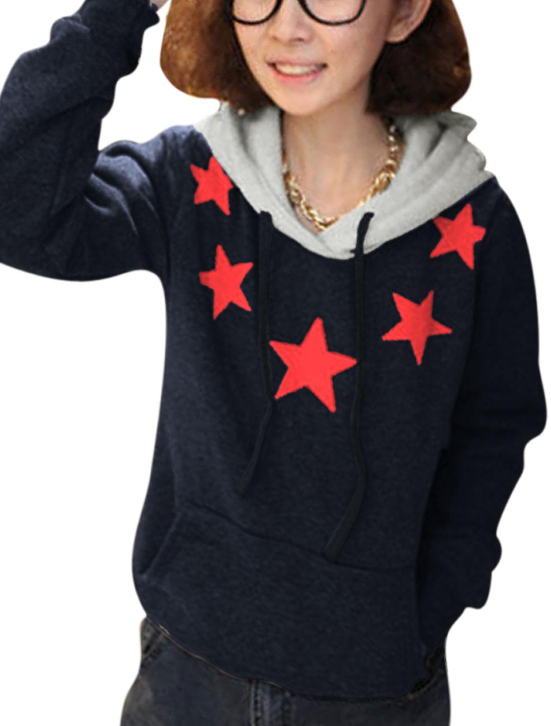 Ladies Navy Blue Long Sleeves Contrast Color Pullover Printed Stars Hoodie XS