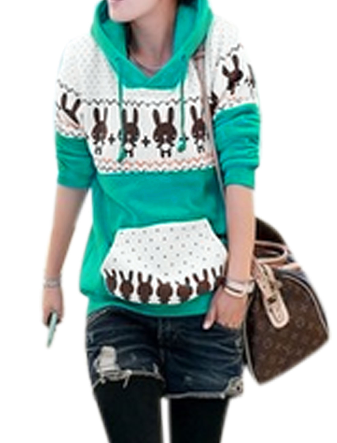 Lady Cartoon Dots Prints Kangaroo Pocket Pullover Hoodie Aqua Beige S