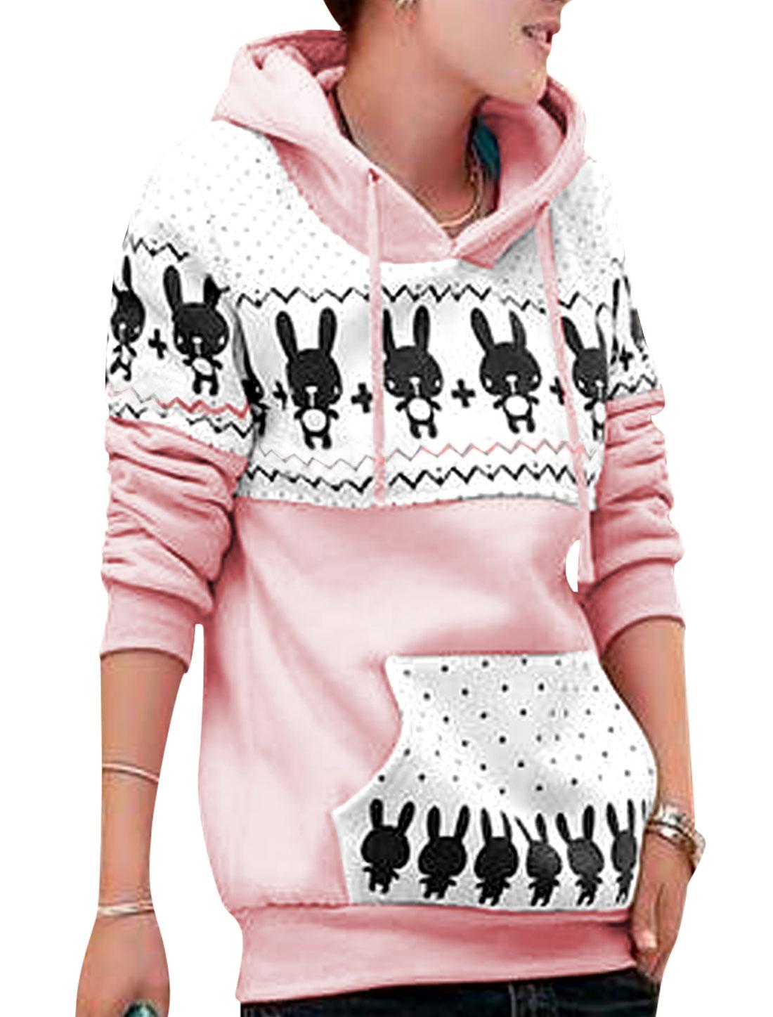 Women Dots Zig-Zag Prints Drawcord Hood Leisure Hoodie Pink Beige S