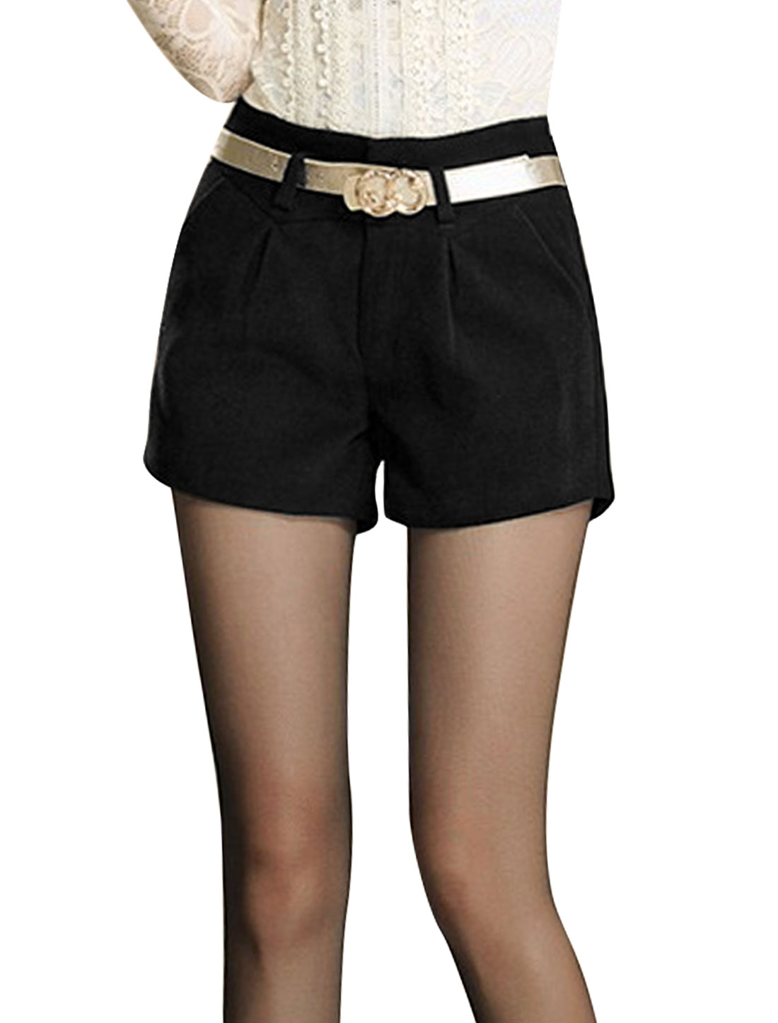 Lady Belt Loop Button Closure Zip Fly Slant Pockets Casual Shorts Black M