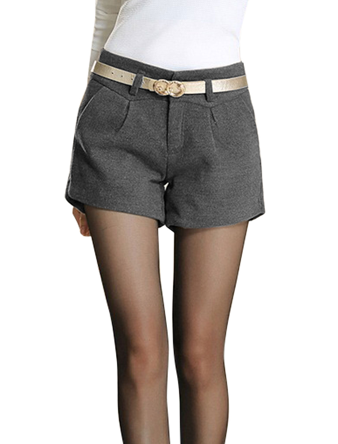 Lady Fashion Style Belt Loop Zip Fly Casual Shorts Gray M