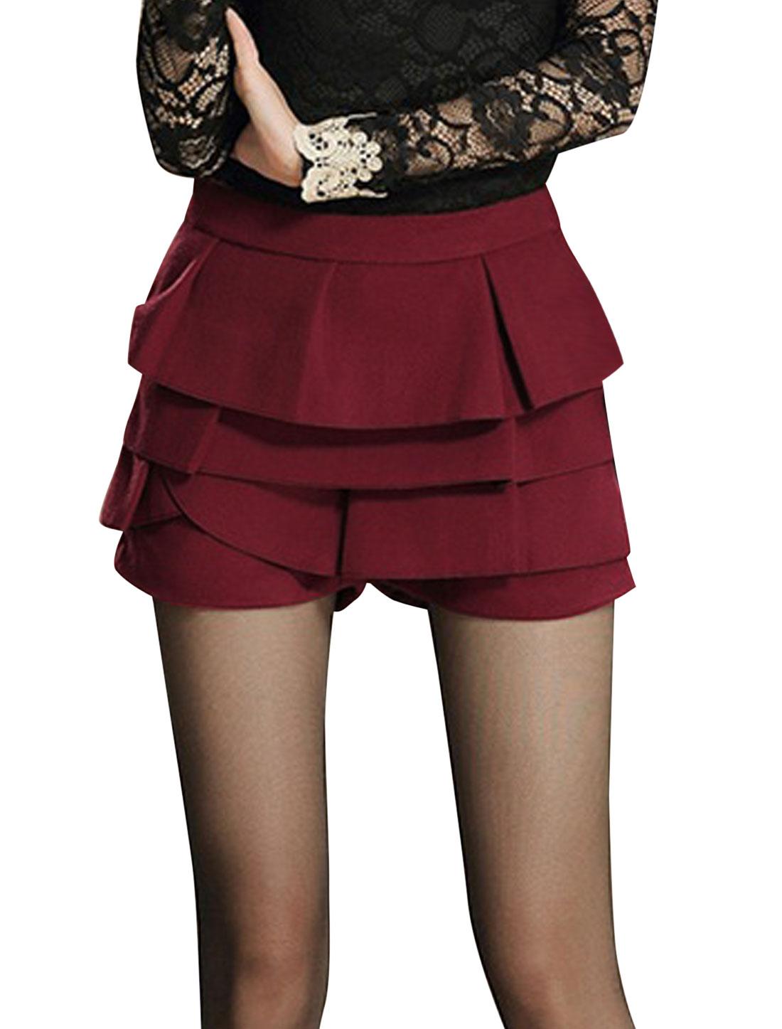 Lady Fashion Style Hidden Zipper Tiered Mini Skorts Burgundy L