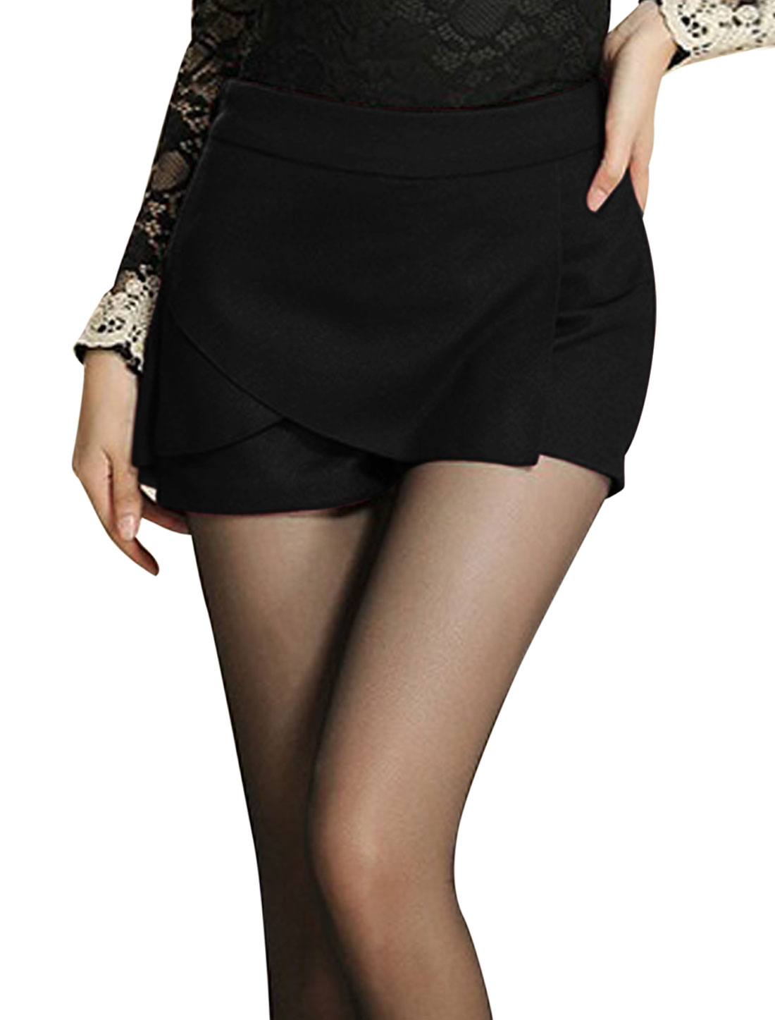 Lady Hidden Zipper Side Tiered Over Hip Slim Mini Skorts Black S