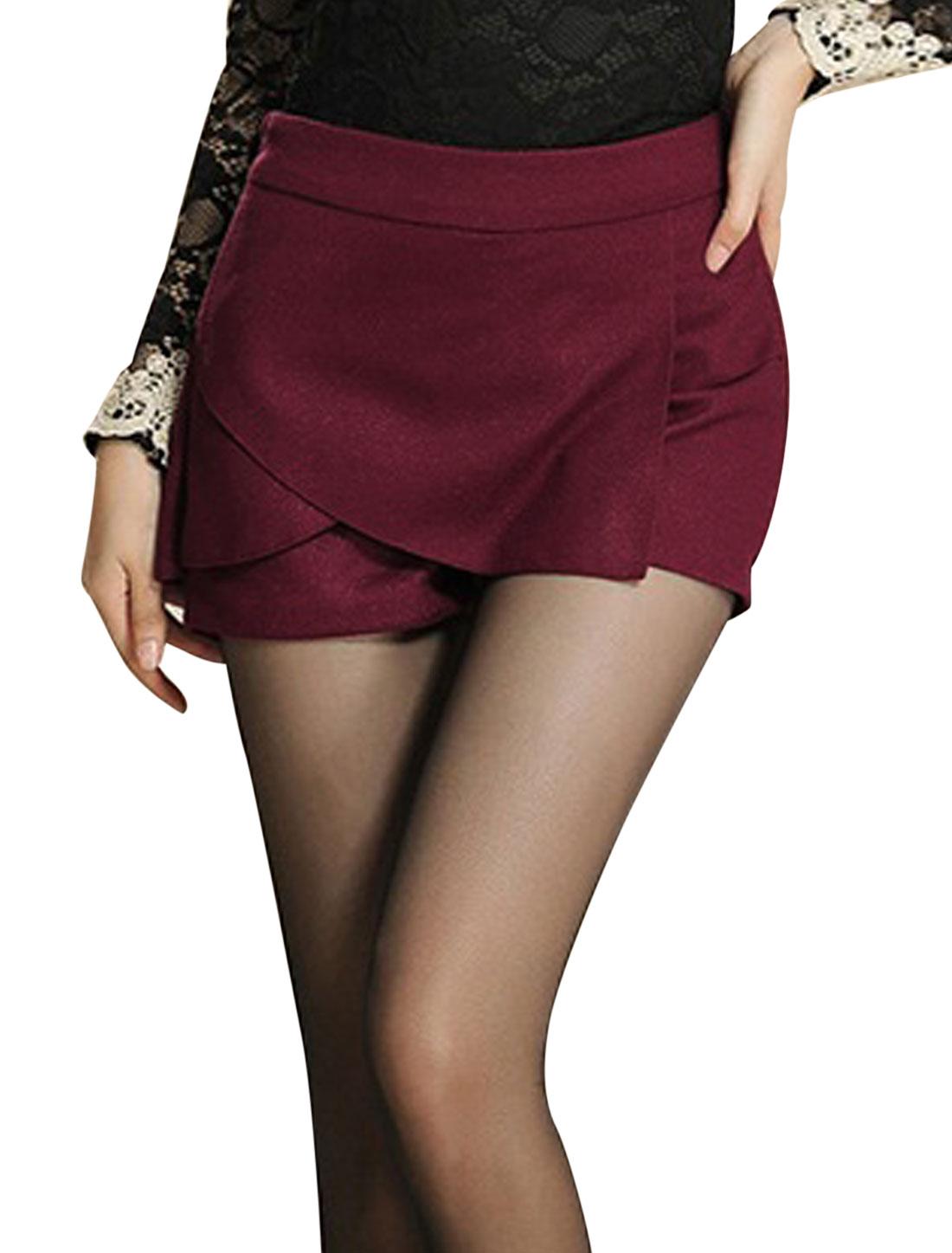 Women Conceal Zipper Side Tiered Slim Mini Skorts Burgundy L