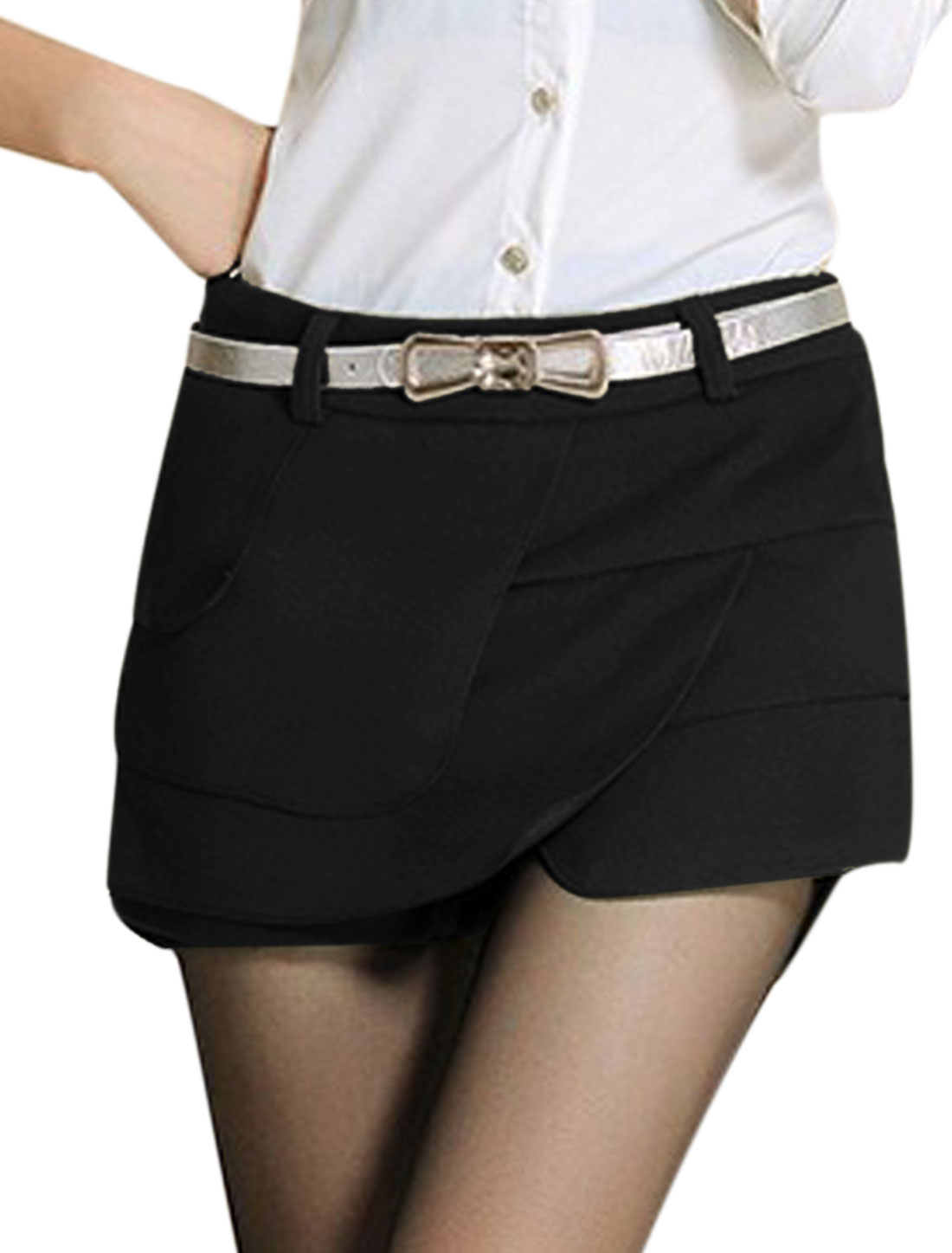 Women Belt Loop Hidden Zipper Side Tiered Over Hip Mini Skorts Black L