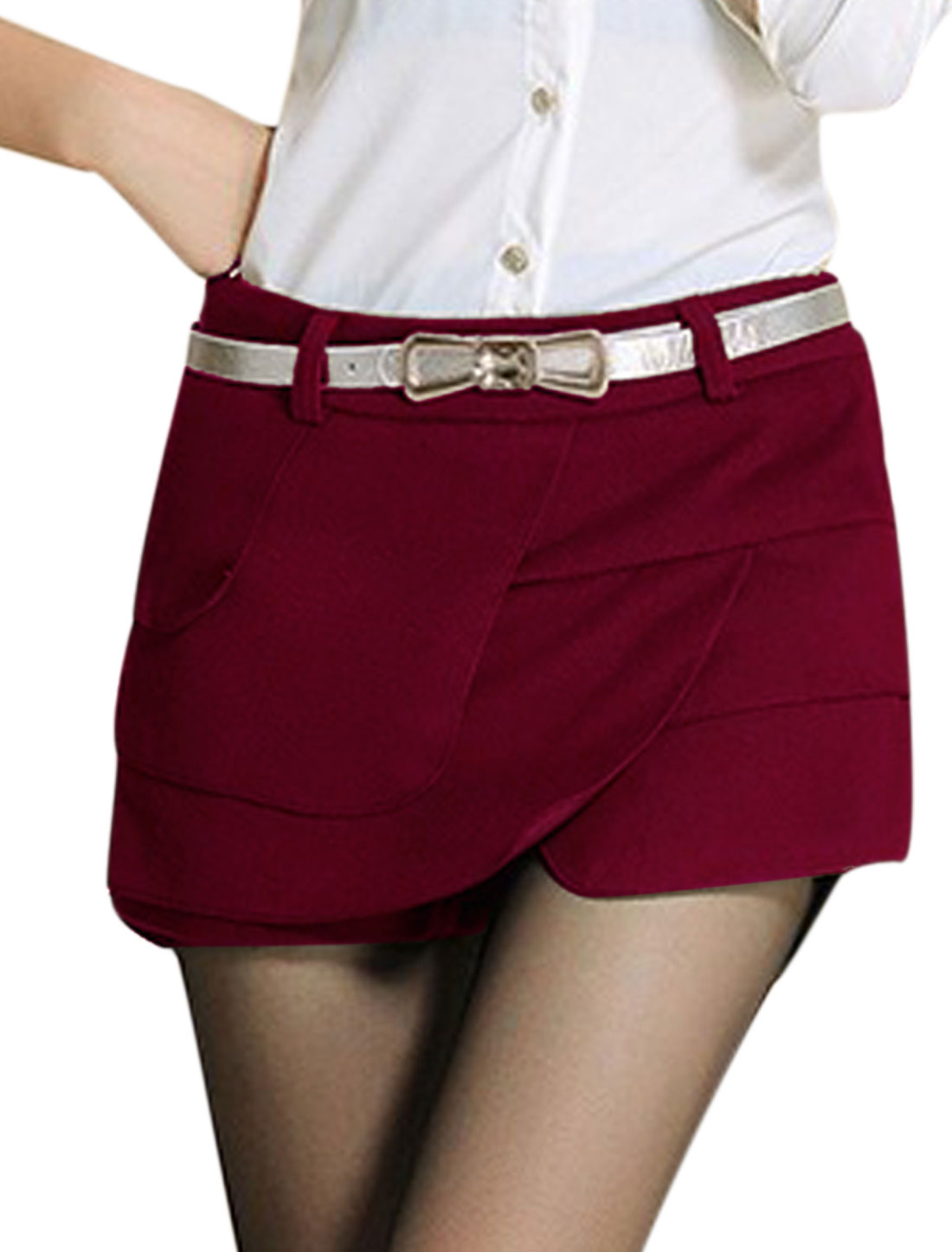 Lady Conceal Zipper Side Belt Loop Tiered Mini Skorts Burgundy L