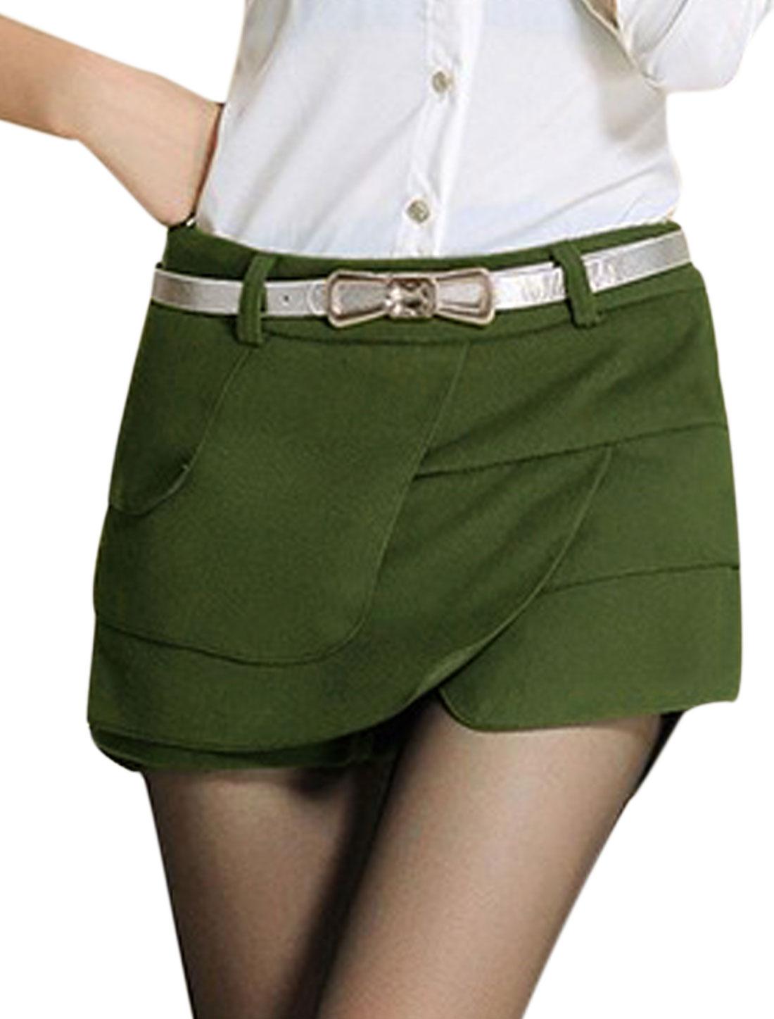 Women Belt Loop Mid Rise Tiered Slim Fit Mini Skorts Army Green L