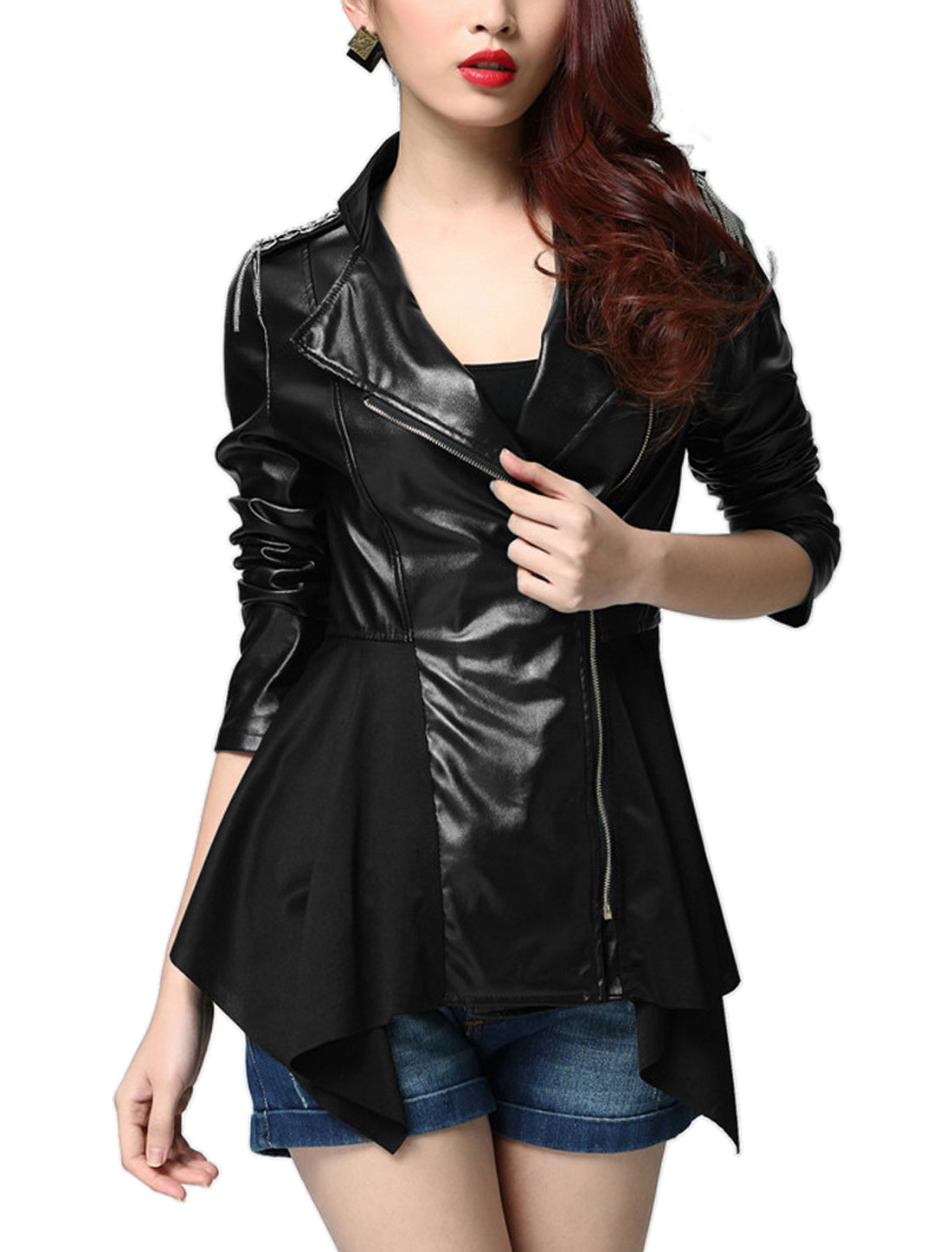 Ladies Black Long Sleeves Stand Collar Inclined Zippered Front Splice Jacket S