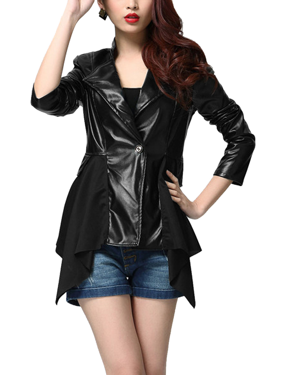Lady Button Closure Asymmetric Hem Imitation Leather Jacket Black S