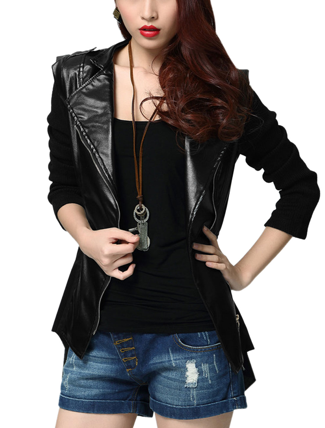 Lady Stand Collar Kintting Spliced Long Sleeve Imitation Leather Jacket Black S