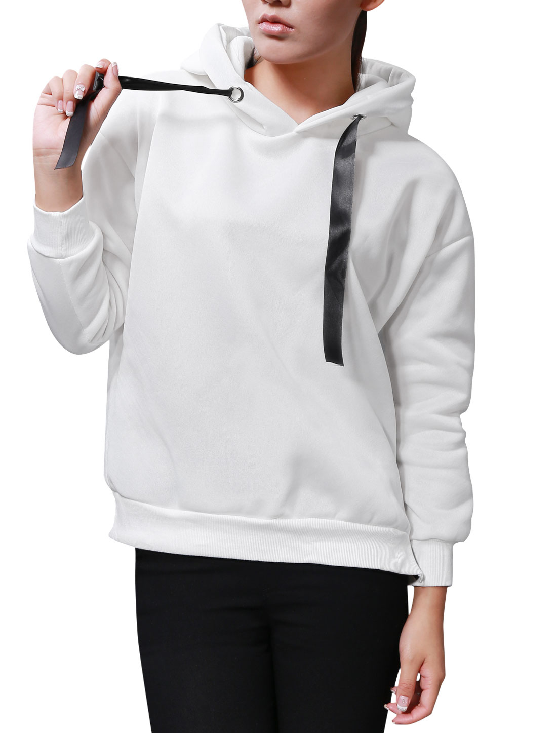 Lady Hooded Batwing Sleeve Zipper Side Casual Sweatshirt White XS