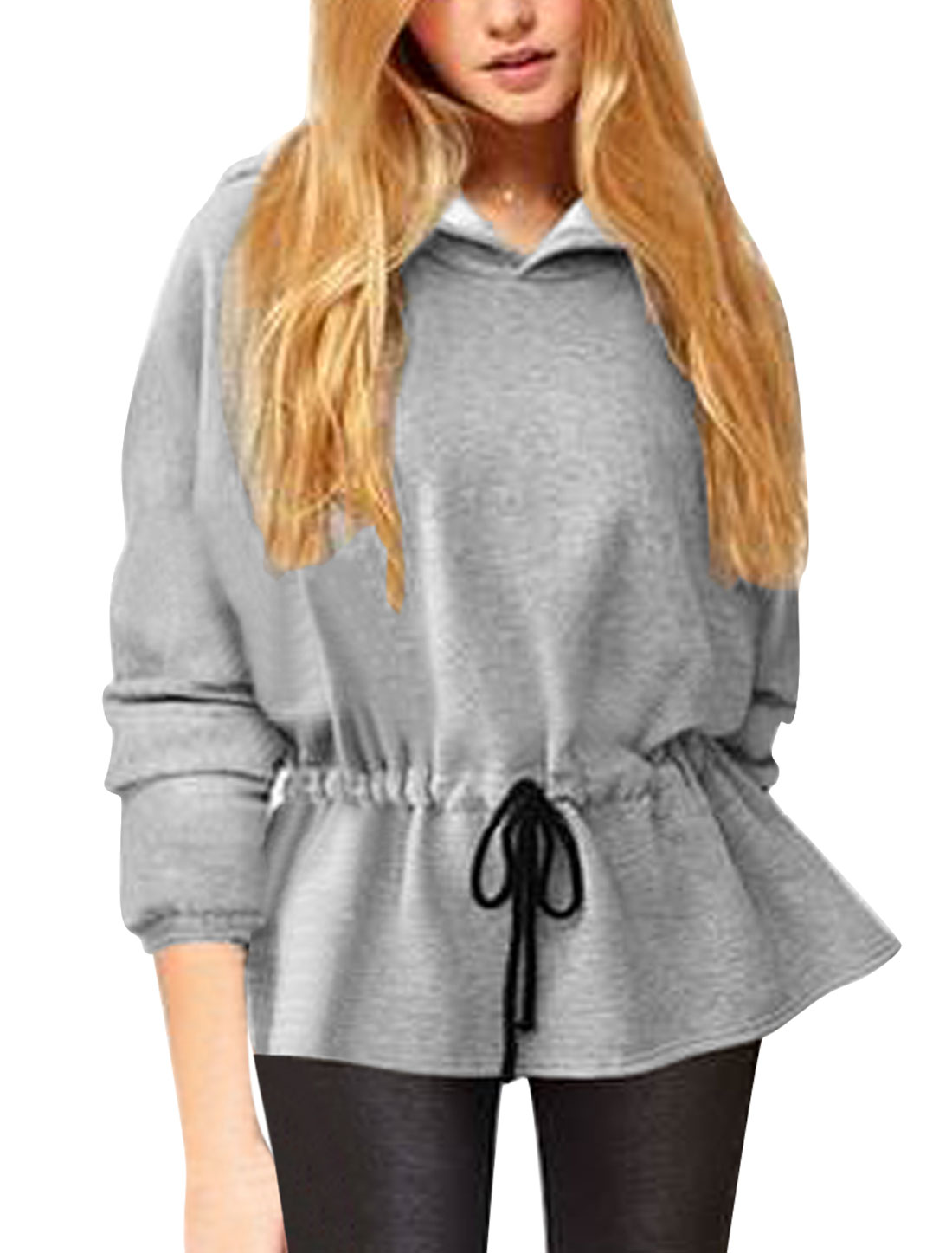 Ladies Light Gray Batwing Sleeves Loose Adjustable Drawstring Waist Hoodie XS
