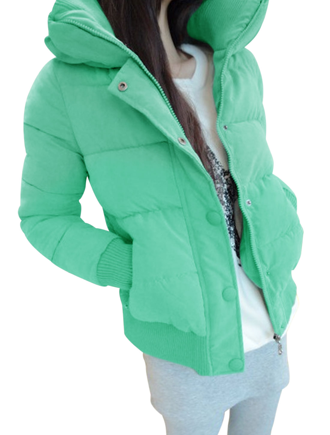 Ladies Mint Convertible Collar Zippered Front Button Closure Coat M