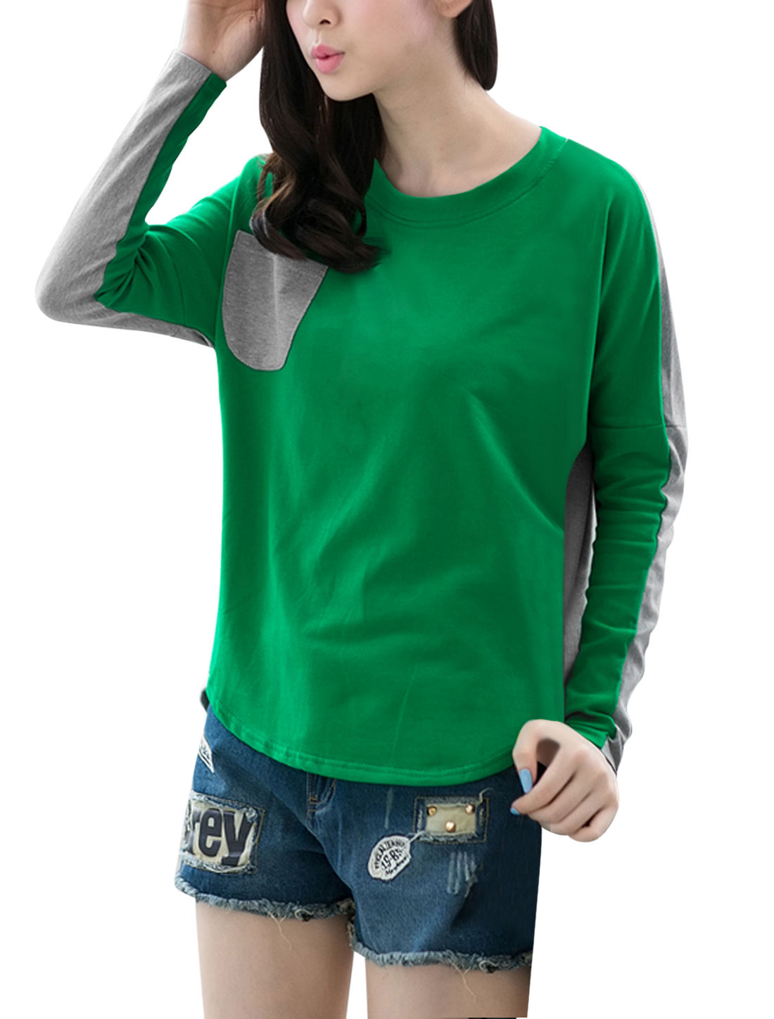 Lady Crew Neck Long Batwing Sleeve Color Blocking Casual T-Shirt Dark Green Gray S