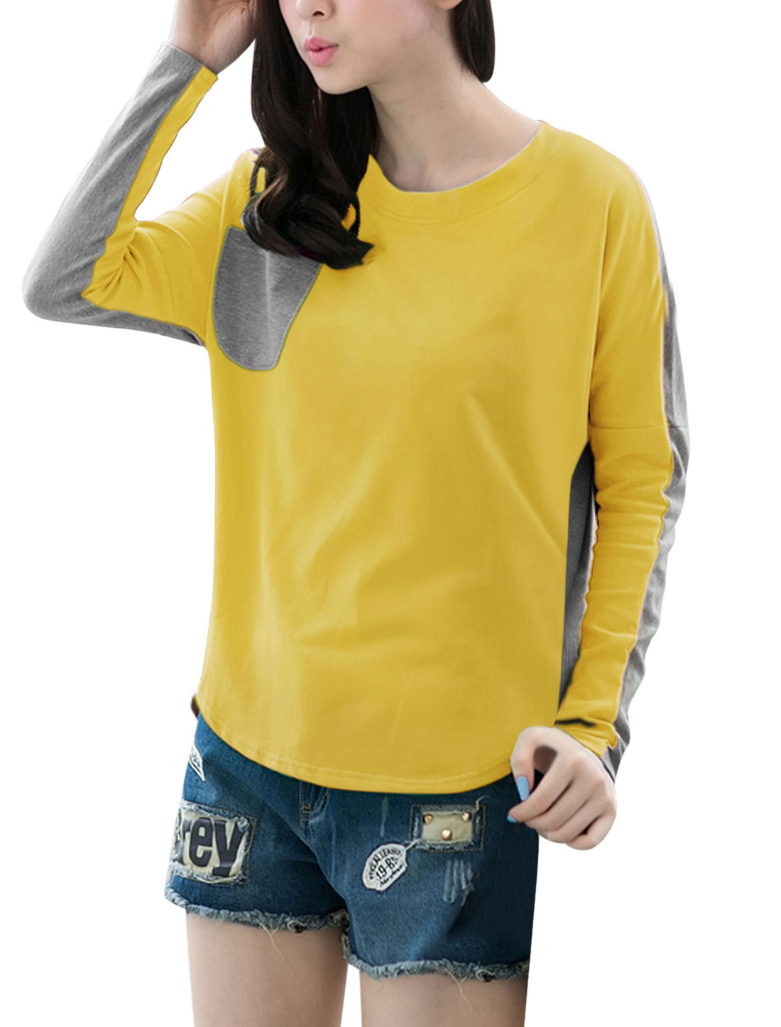Lady Crew Neck Batwing Sleeve Contrast Color T-Shirt Yellow Gray S
