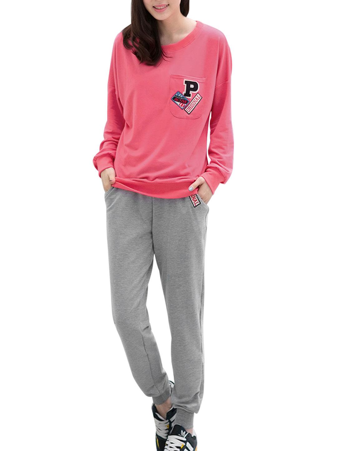 Lady Bat Sleeve Fuchsia T-Shirt w Sport Gray Pants XL