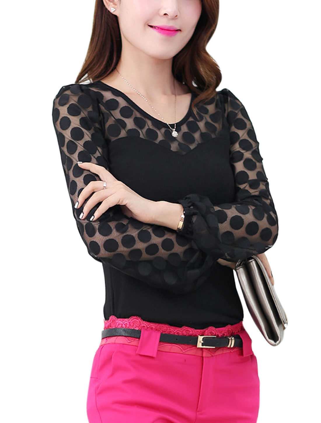 Lady Lace Panel Dots Design Detail Round Neck Slim Fit Top Black S