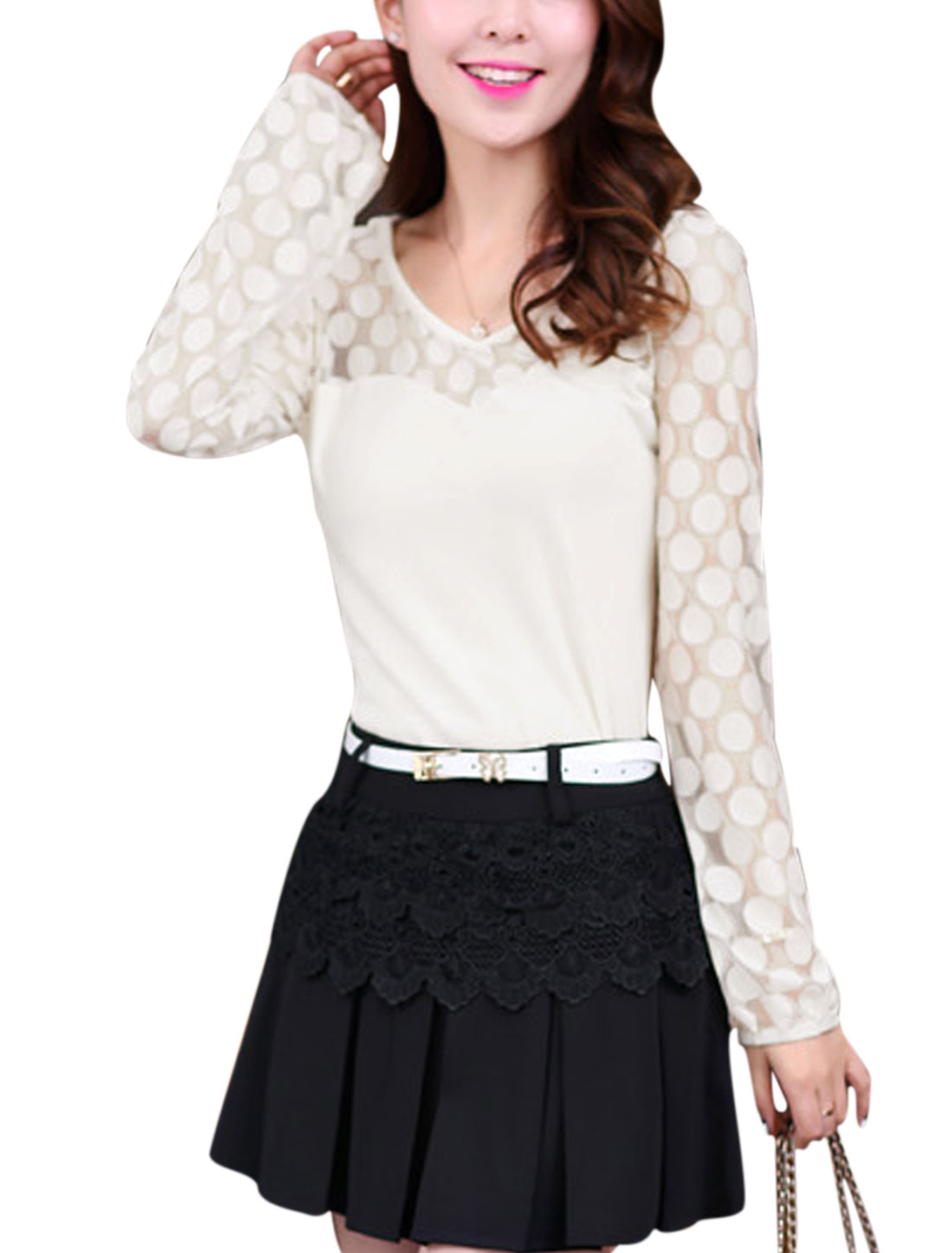 Women Pullover Lace Panel Elastic Cuff Slim Fit Top White S