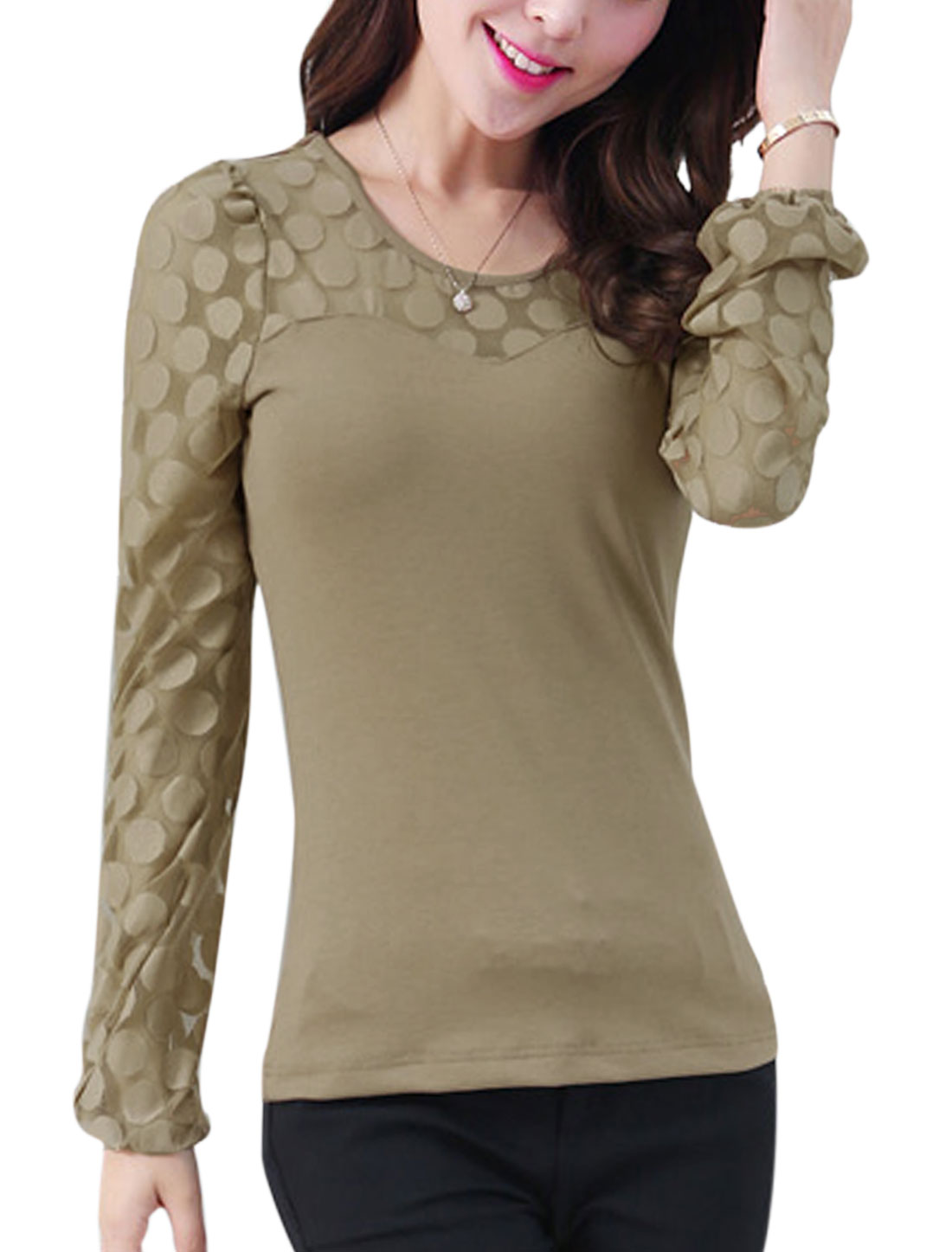 Lady Slipover Long Sleeve Stretchy Cuff Skinny Top Khaki S