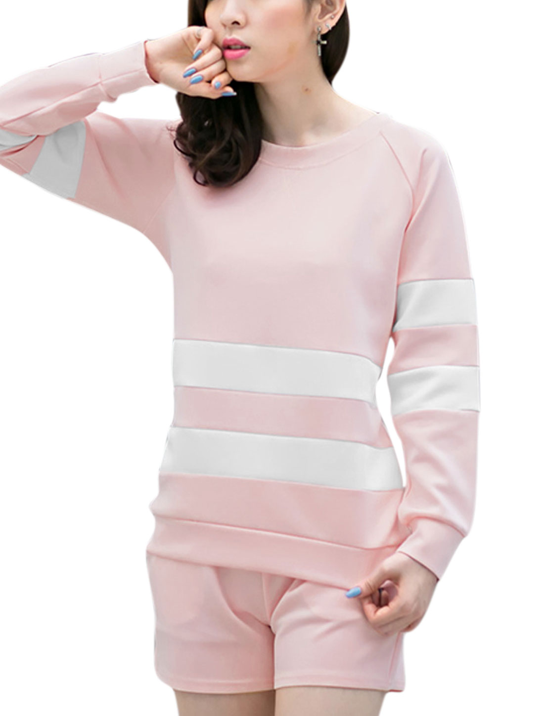 Lady Stripes Pullover Sweatshirt w Mid Rise Shorts Light Pink L