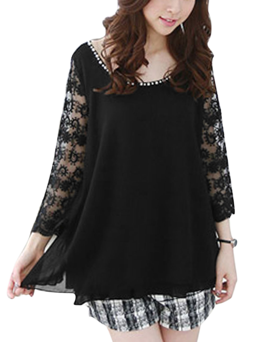 Ladies Round Neck Long Crochet Sleeve Lace Panel Chiffon Blouse Black S