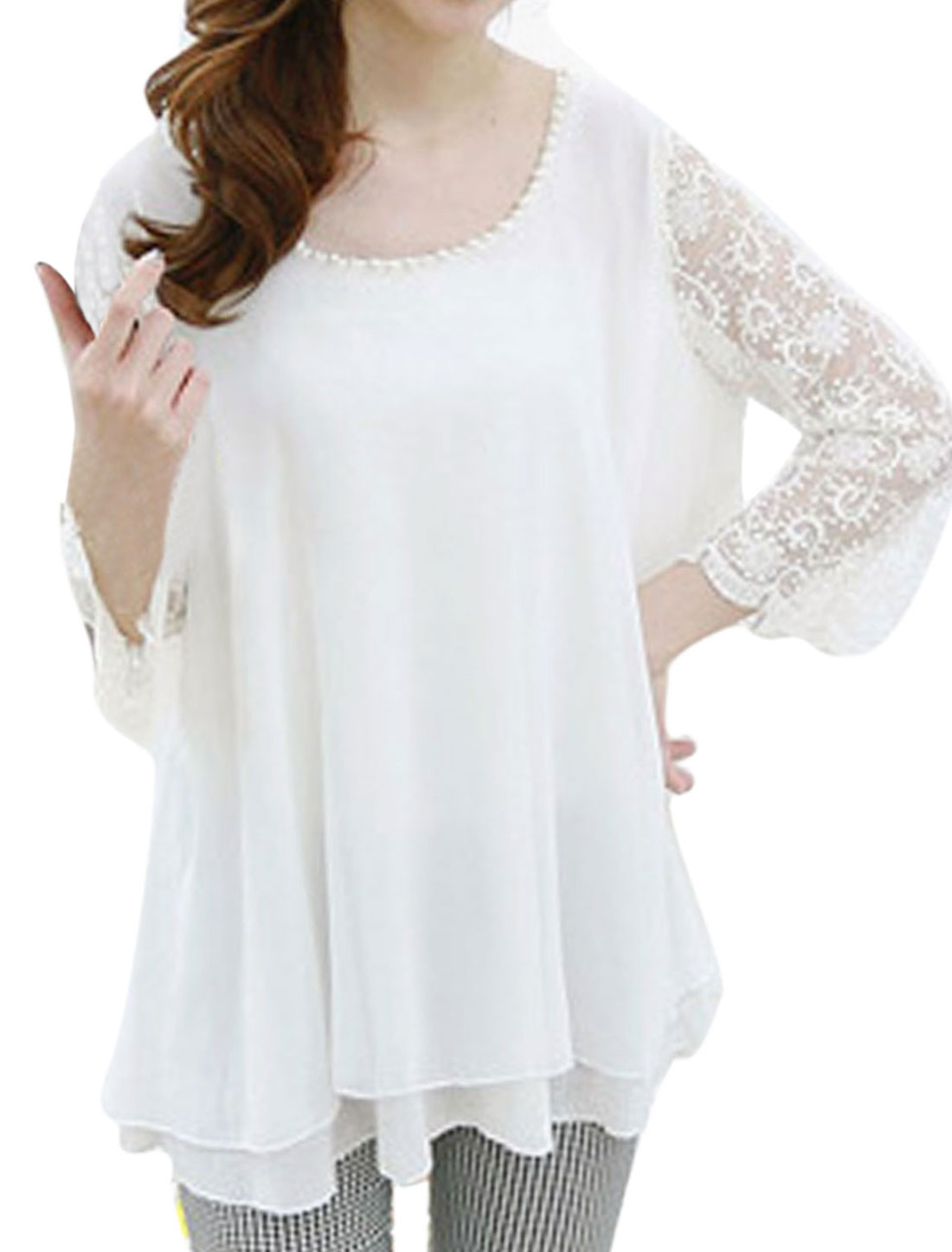 Ladies Round Neck Beaded Neckline Lace Splicing Chiffon Blouse White S