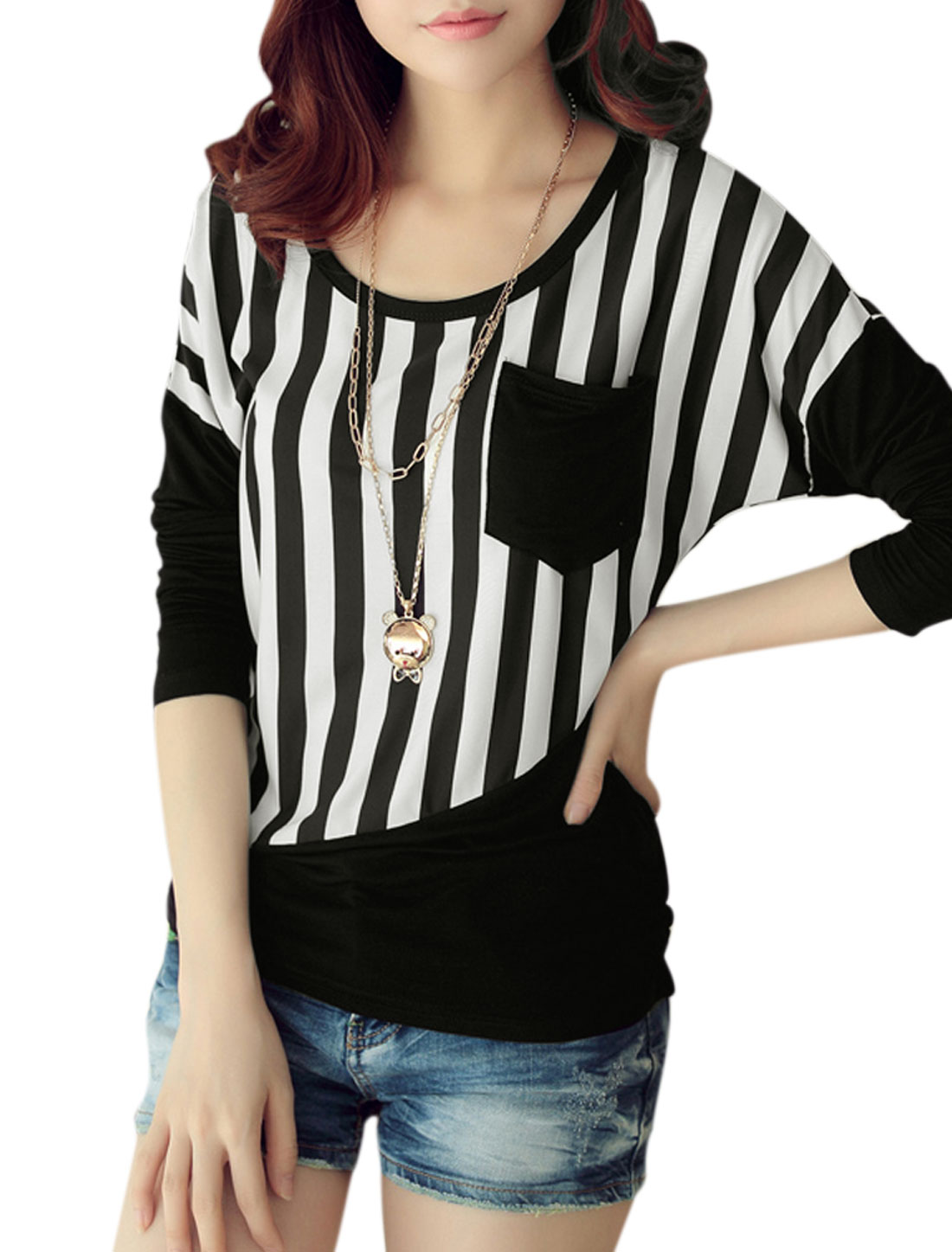 Lady Round Neck Long Batwing Sleeve Stripes Casual T-Shirt Black White S
