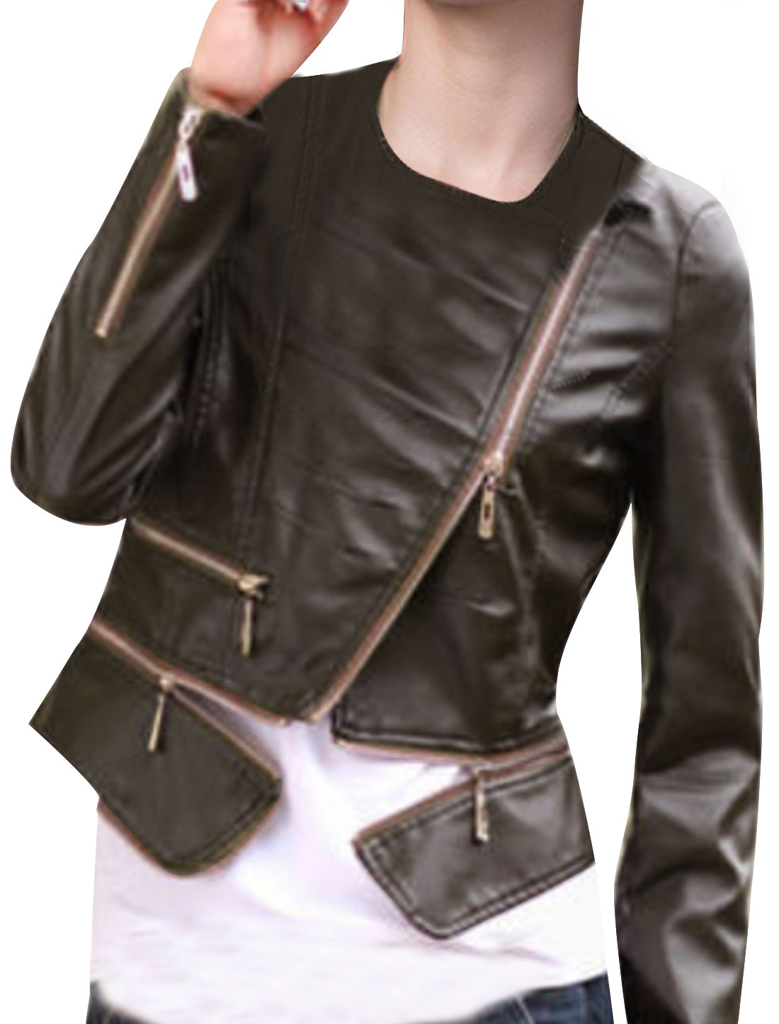 Ladies Brown Convertible Collar Long Sleeves Zip Up Splice Jacket S