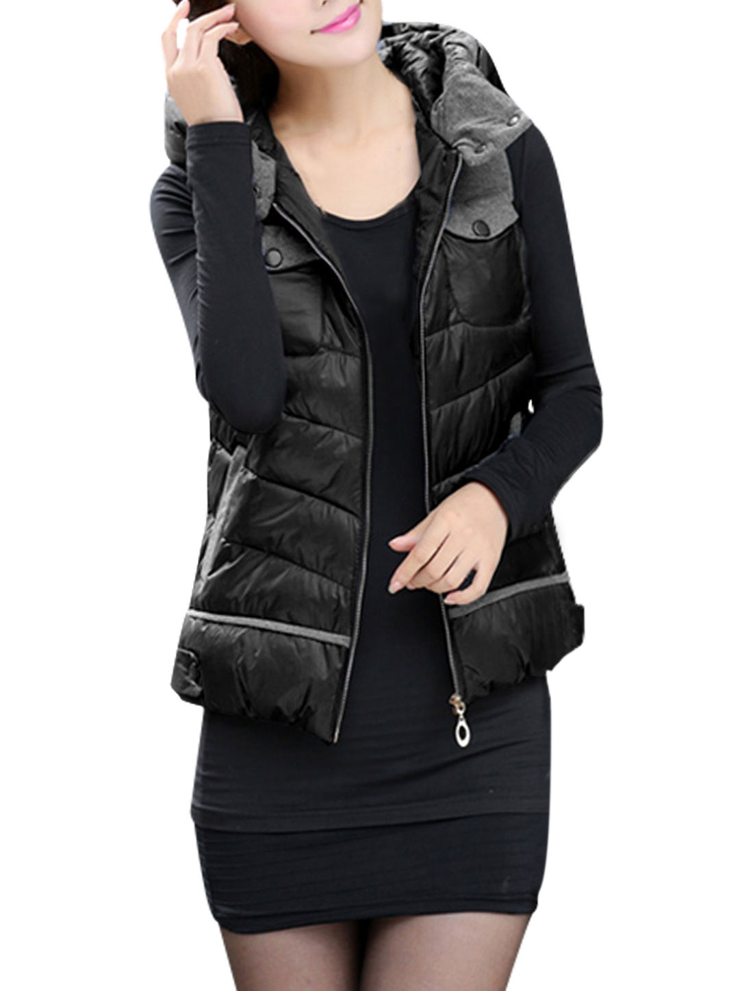 Women Zip Up Front Double Slant Pockets Casual Hooded Gilet Black L