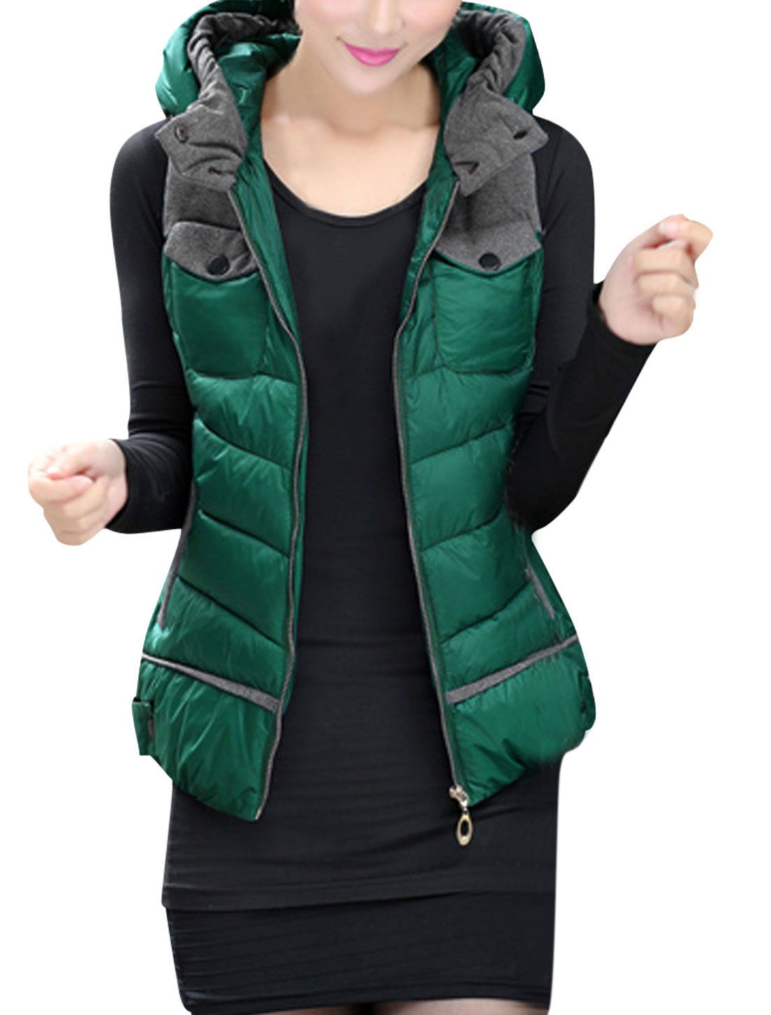 Lady Zipper Closure Front Double Slant Pockets Hooded Gilet Green L